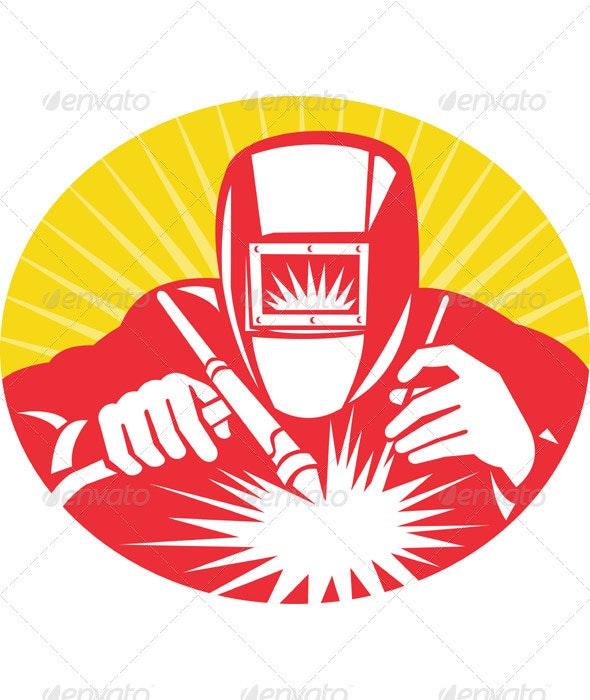 Welder Welding At Work Retro Style - Industries Business