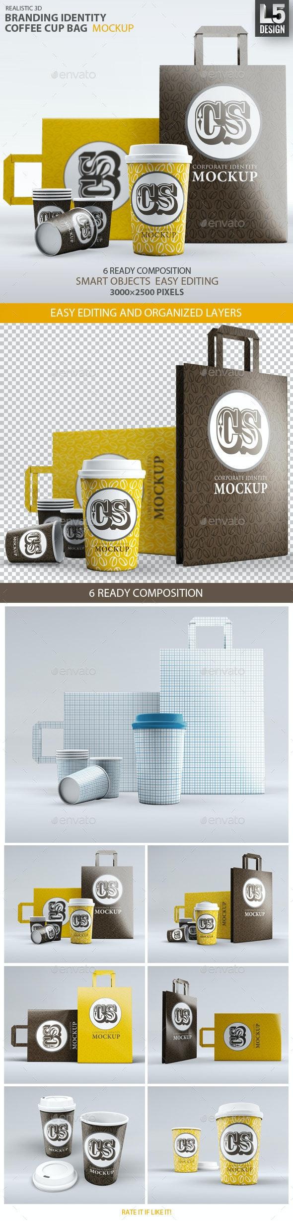 Branding / Identity Coffee Cup Bag Mockup - Food and Drink Packaging