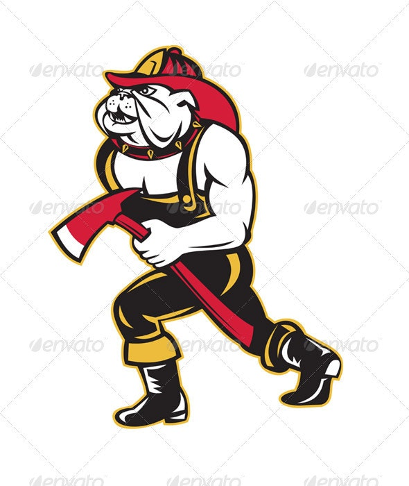 Bulldog Dog Fireman With Axe Walking Cartoon - Animals Characters