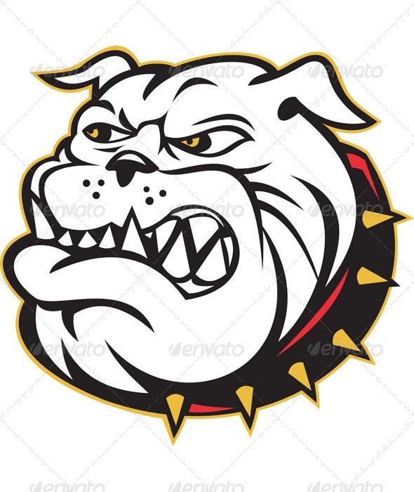 Angry Bulldog Dog Head Mascot - Animals Characters
