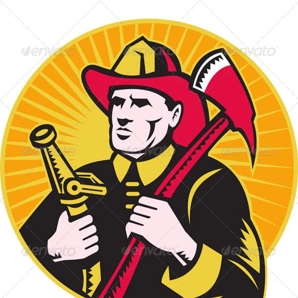 Fireman Firefighter Holding Axe And Hose
