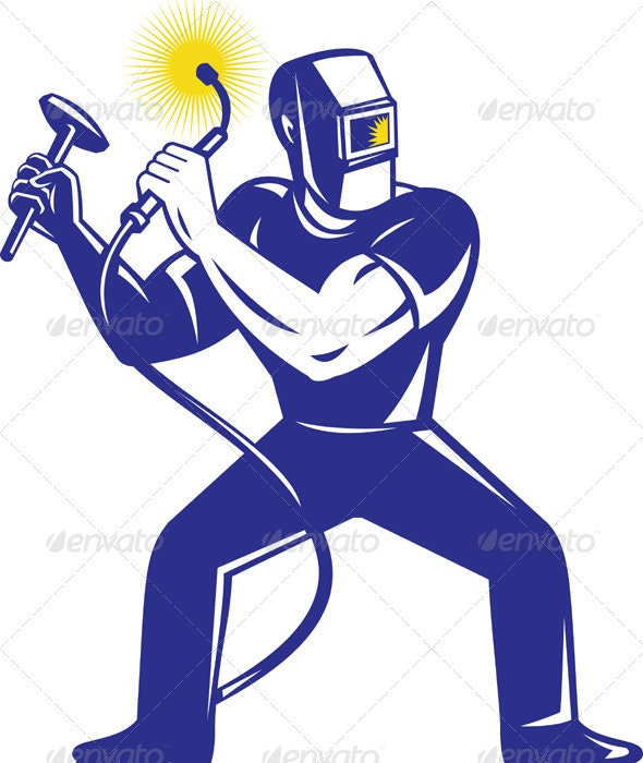 Welder At Work Holding Up Welding Torch - People Characters