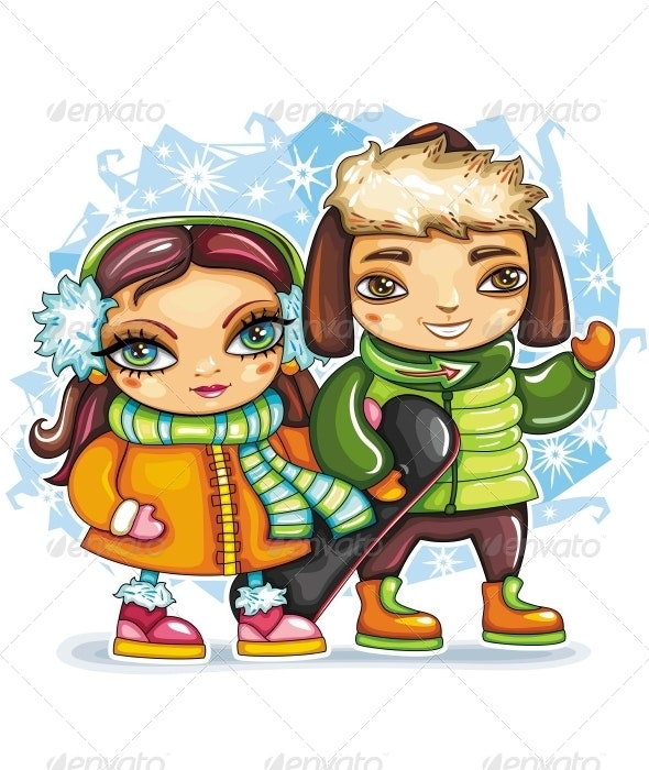 Children With Snowboard - Sports/Activity Conceptual
