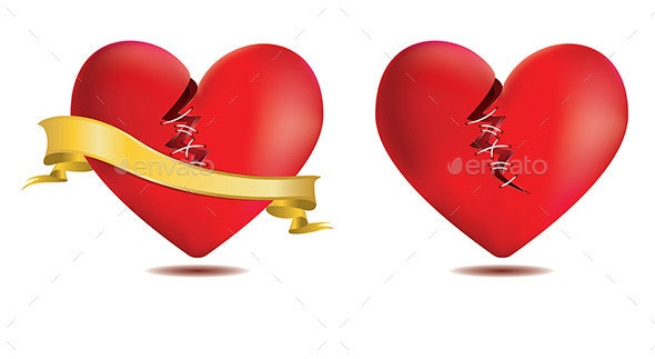 Broken Red Heart with Gold Ribbon - Valentines Seasons/Holidays