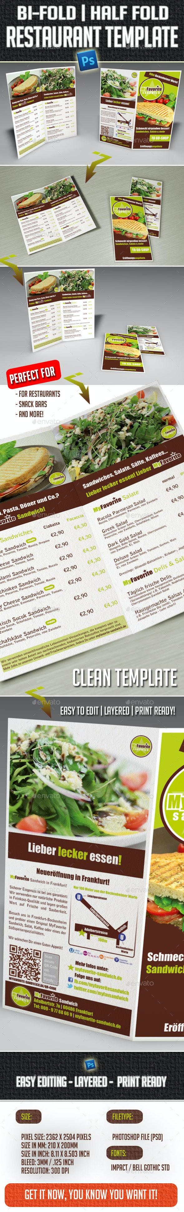 Restaurant Bi-Fold Half-fold Brochure Template - Brochures Print Templates