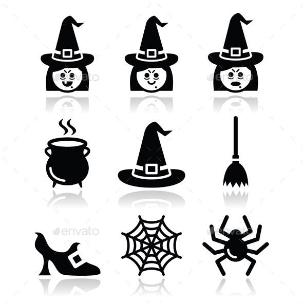 Witch Halloween Icons Set