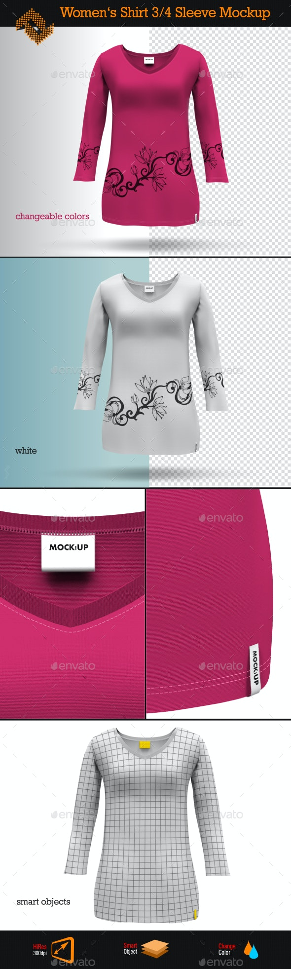 Womens 3/4 Sleeve Shirt Mockup - Apparel Product Mock-Ups