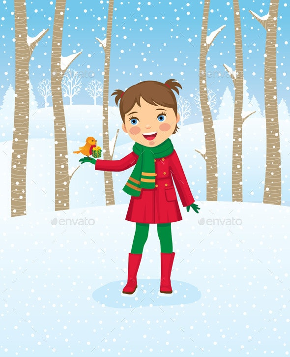 Girl Walking in Winter Forest - Christmas Seasons/Holidays