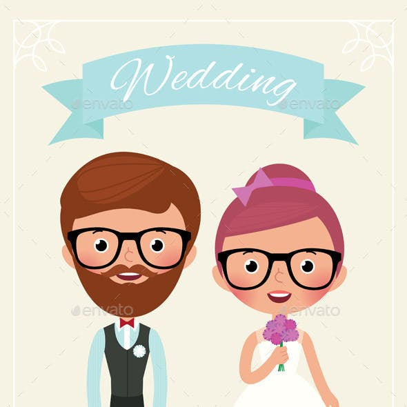 Bride and Groom Hipsters