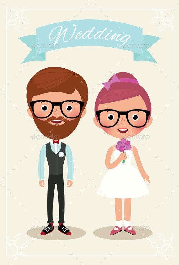 Bride and Groom Hipsters - Weddings Seasons/Holidays