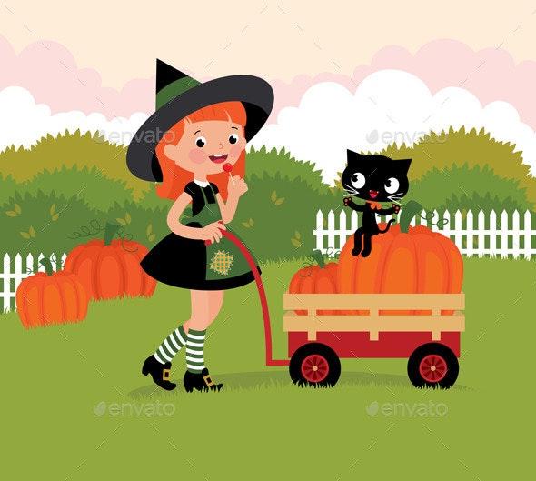 Witch with a Wheelbarrow and Pumpkins - Halloween Seasons/Holidays