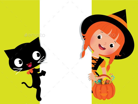 Halloween Witch and Cat with White Banner - Halloween Seasons/Holidays