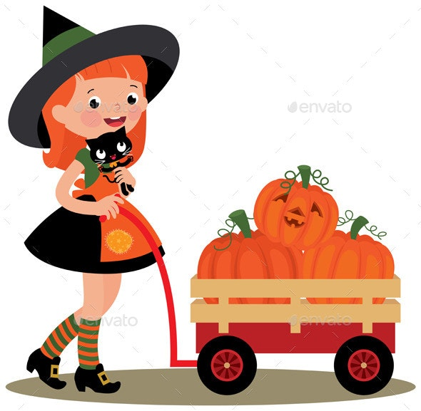 Halloween Witch Carries Cat and Pumpkins - Halloween Seasons/Holidays