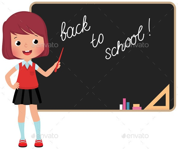 Schoolchild Standing at the Blackboard - People Characters