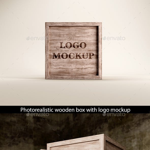 Wooden Box with Logo Mockup