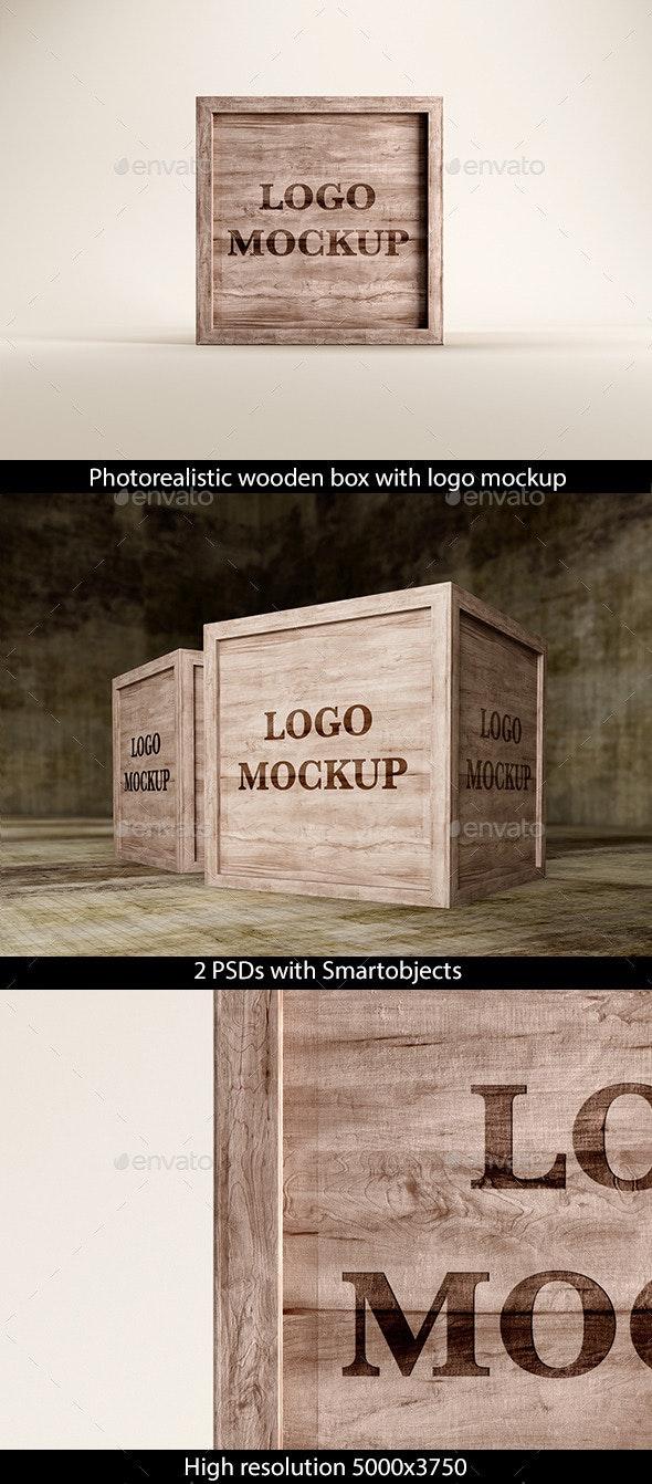 Wooden Box with Logo Mockup - Logo Product Mock-Ups