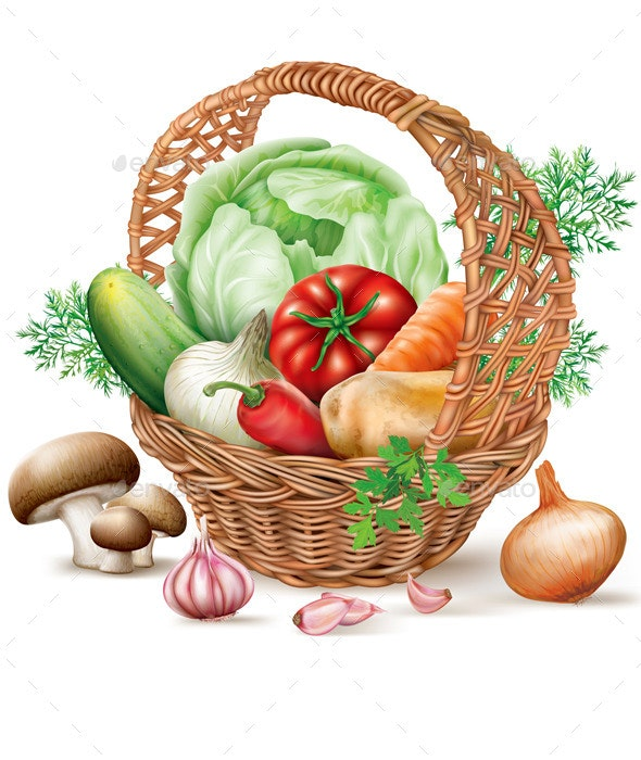 Basket  of Different Vegetables - Food Objects