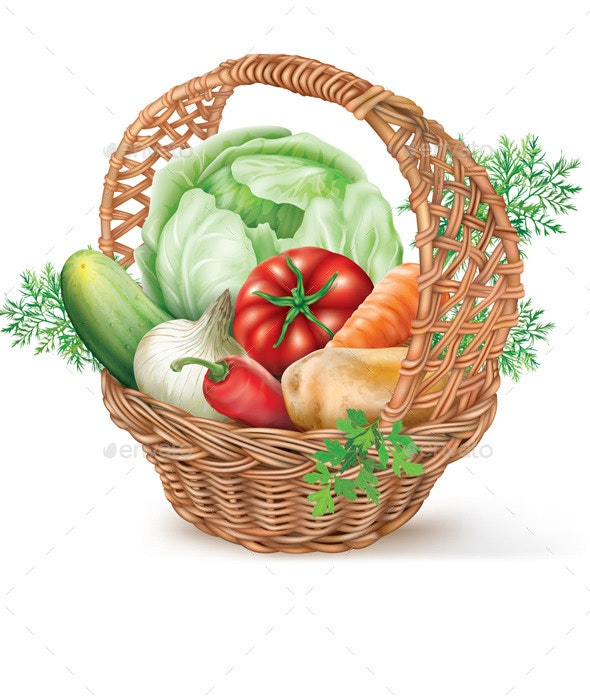 Basket of Vegetables - Food Objects