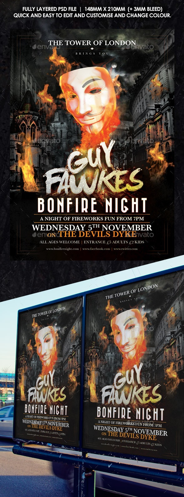 Guy Fawkes Bonfire Flyer - Holidays Events