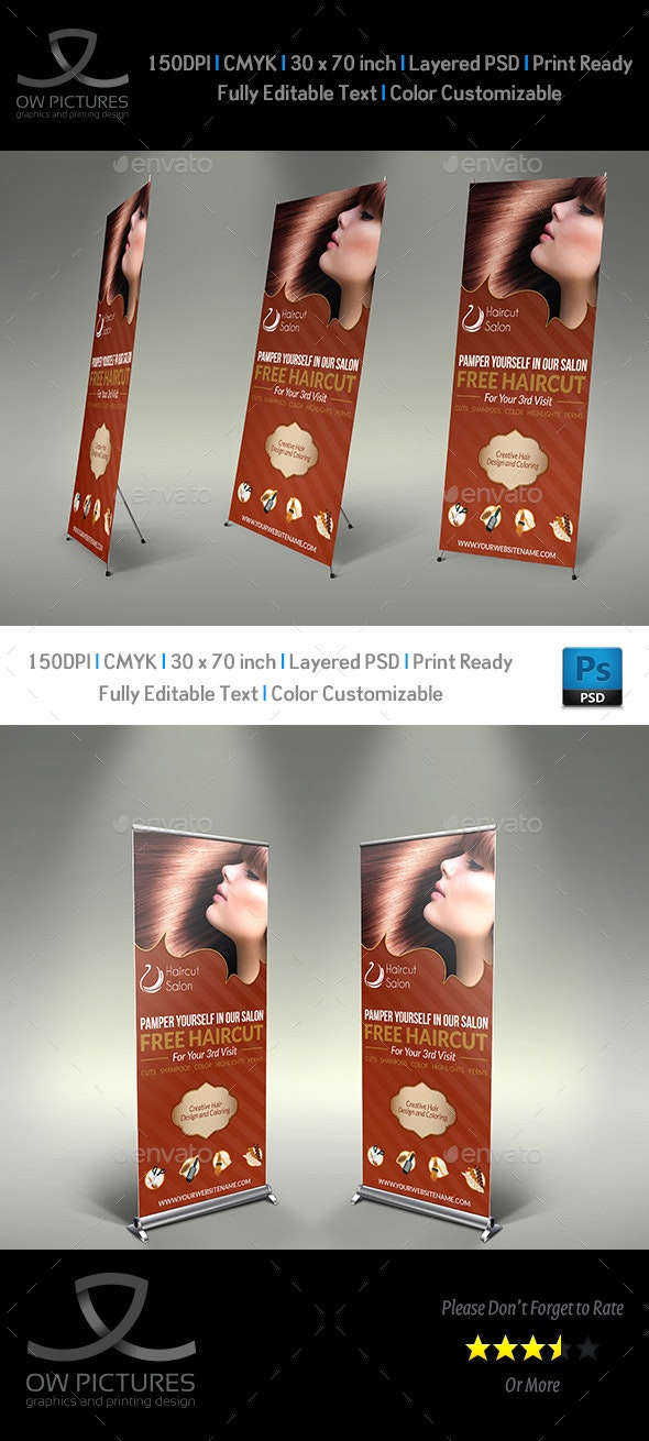 Hair Stylist & Salon Signage Roll-Up Template - Signage Print Templates