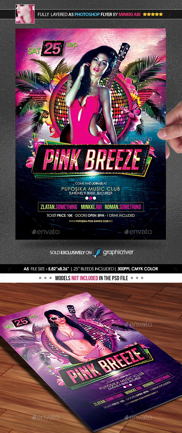 Pink Breeze Poster/Flyer - Clubs & Parties Events