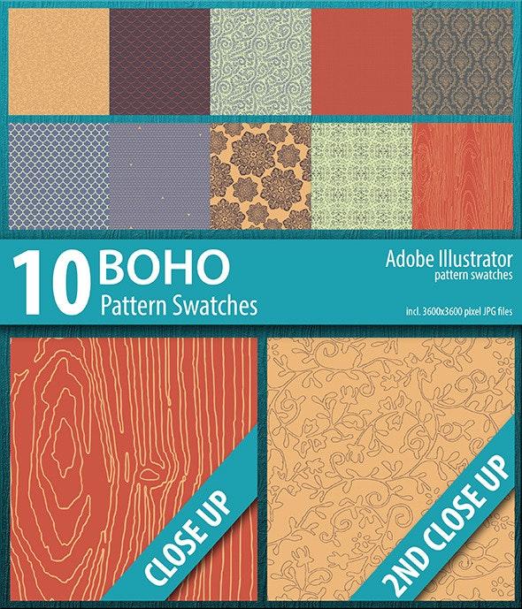 10 Boho Illustrator Pattern Swatches - Urban Textures / Fills / Patterns