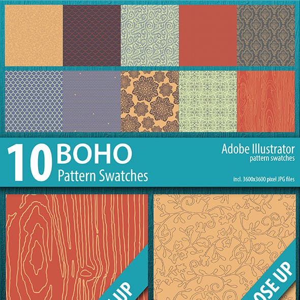 10 Boho Illustrator Pattern Swatches