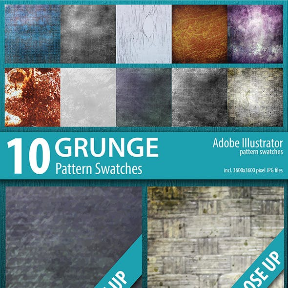 10 Grunge Abstract Pattern Swatches