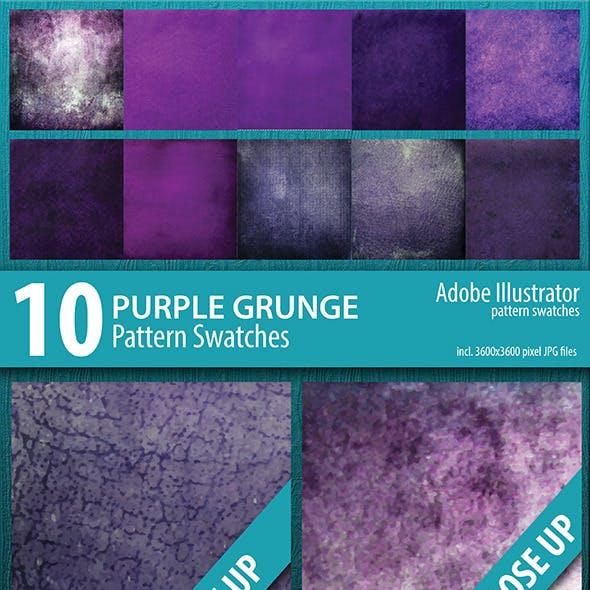 10 Purple Grunge Pattern Swatches Vector