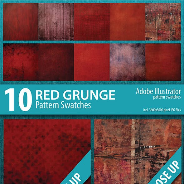 10 Red Grunge Pattern Swatches Vector
