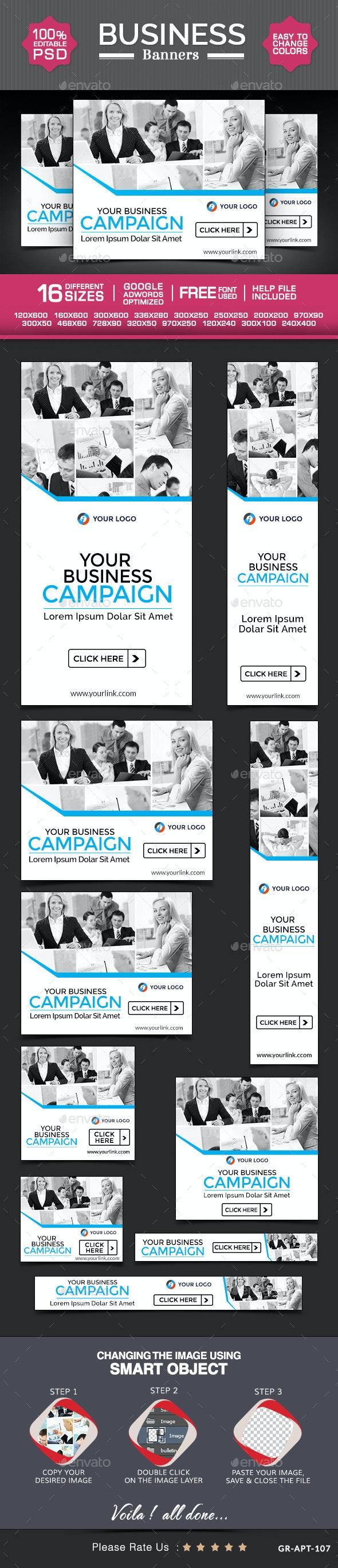Business Web Banner Design Set - Banners & Ads Web Elements