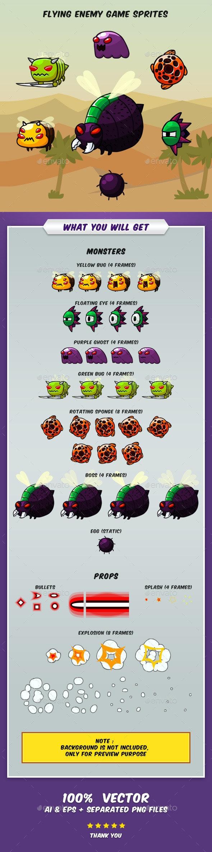 Flying Enemy Game Sprites - Sprites Game Assets