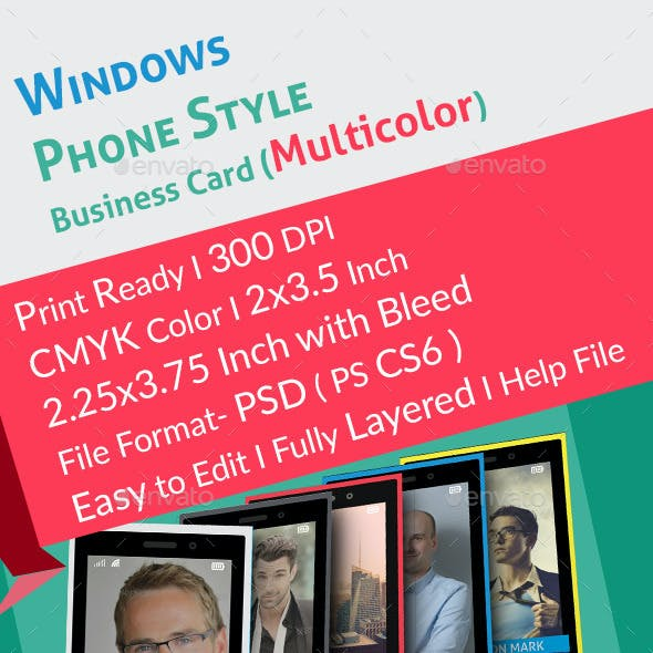 Windows Phone Style Colorful Business Card