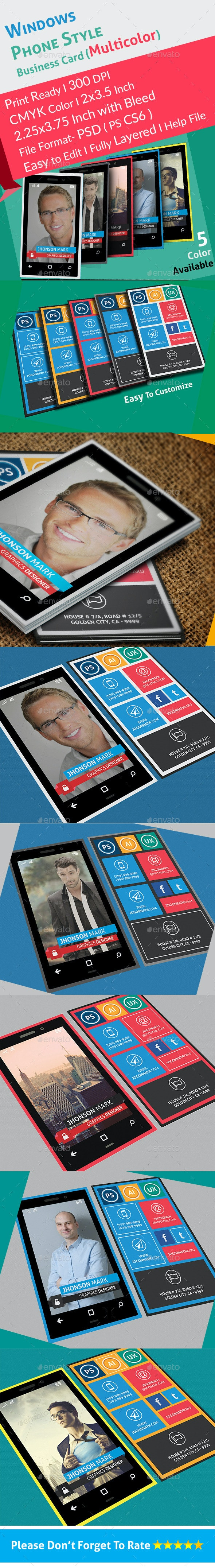 Windows Phone Style Colorful Business Card - Real Objects Business Cards