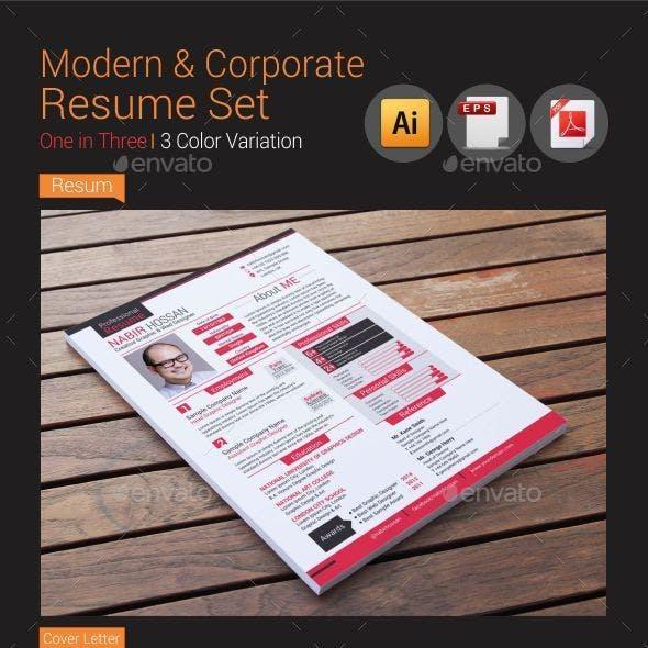 Modern & Corporate Resume Set Vol-1