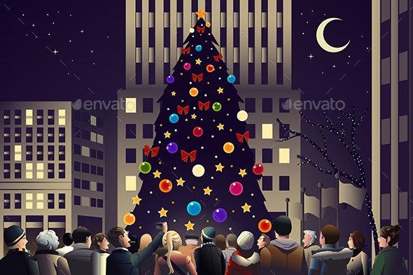 Crowd in the City Near Big Lit Christmas Tree - Christmas Seasons/Holidays