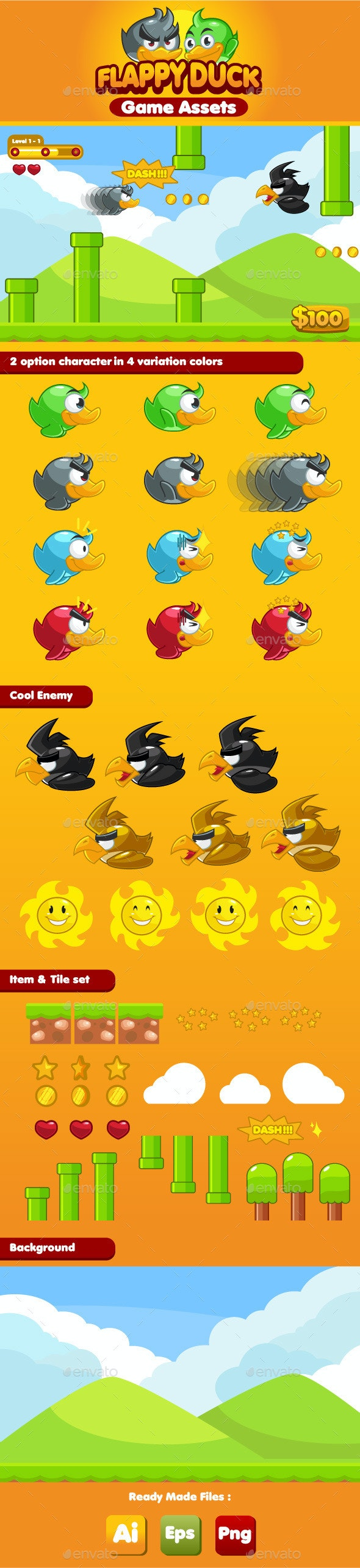 Flappy Duck Game Assets - Game Kits Game Assets