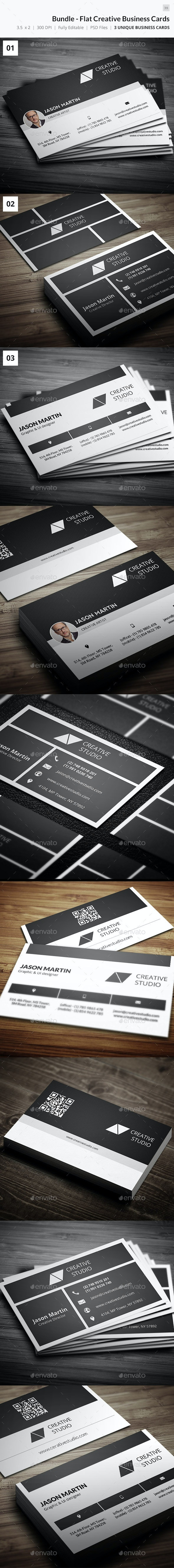 Bundle - Creative Flat Business Cards - 39 - Creative Business Cards
