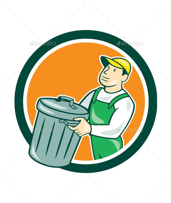 Garbage Collector Carrying Bin Circle Cartoon - People Characters