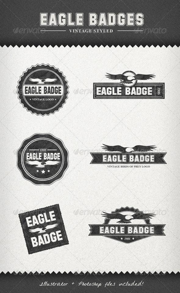 Eagle Badges – Vintage Style Labels - Badges & Stickers Web Elements