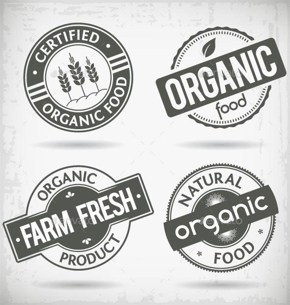 Organic Food Labels - Decorative Symbols Decorative