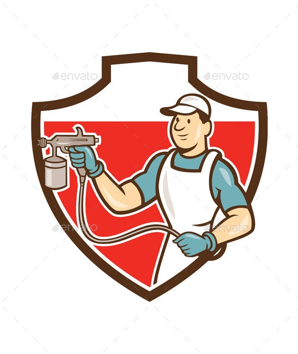 Painter Spray Gun Spraying Shield Cartoon - People Characters