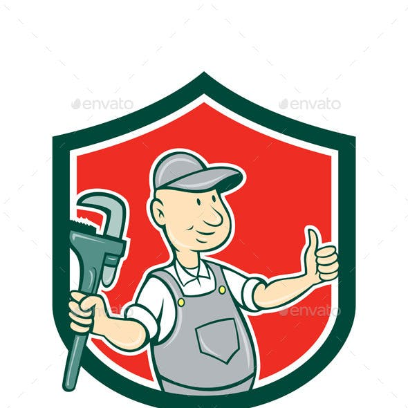 Plumber Monkey Wrench Thumbs Up Shield Cartoon
