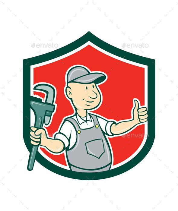 Plumber Monkey Wrench Thumbs Up Shield Cartoon - People Characters
