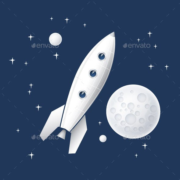 Space Rocket Flying in Space. Vector Illustration