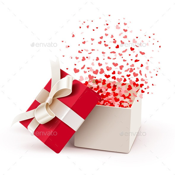 Open Gift with Flying Hearts - Seasons/Holidays Conceptual