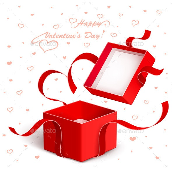Open Gift Box with Red Ribbon Torn - Valentines Seasons/Holidays