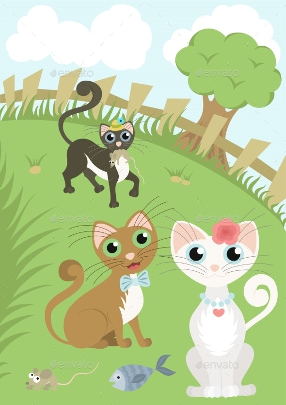 Cats in a Meadow - Animals Characters