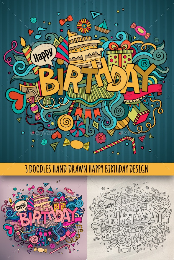 3 Birthday Doodles Designs - Birthdays Seasons/Holidays