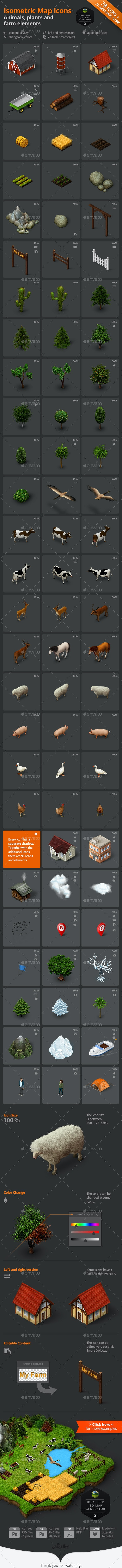 Isometric Map Icons - Animals, Plants and Farm - Objects Icons